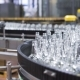 A Lot of Glass Bottles Move Along Conveyer Belt for Pack at Winery or Brewery - VideoHive Item for Sale