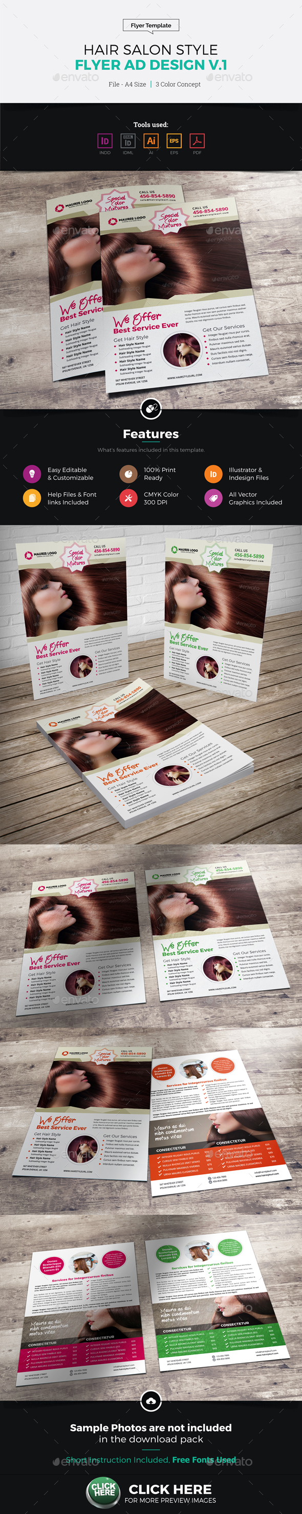 Hair Salon Style Flyer Design - Corporate Flyers