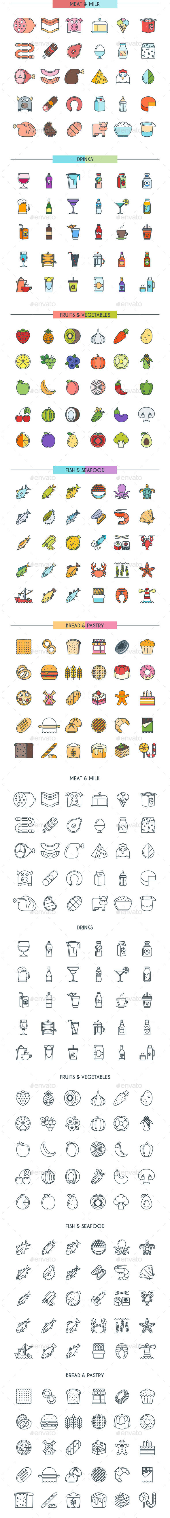 Food and Drinks Icons - Food Objects