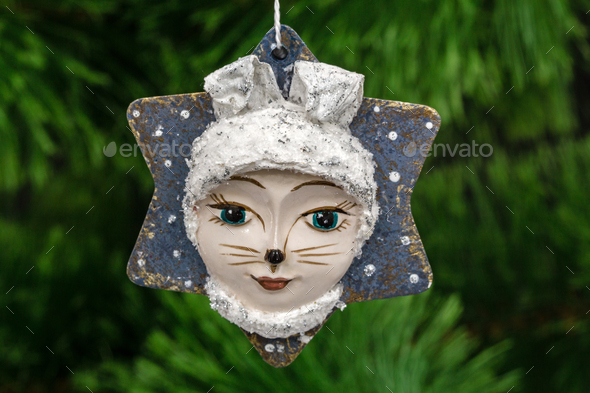 Festive decoration in the shape of a leveret mask, on a Christma - Stock Photo - Images