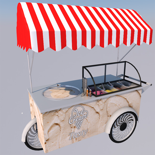 Ice Cream Cart ( Full model with textures & edition )