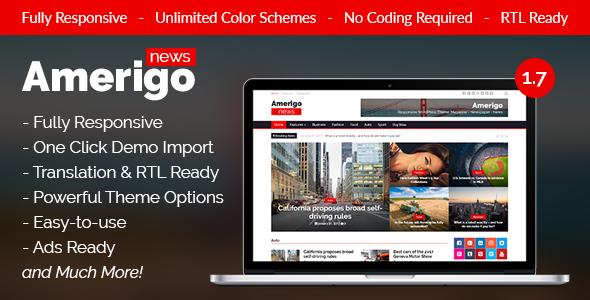 Amerigo - Responsive Newspaper / News / Magazine WordPress Theme - News / Editorial Blog / Magazine