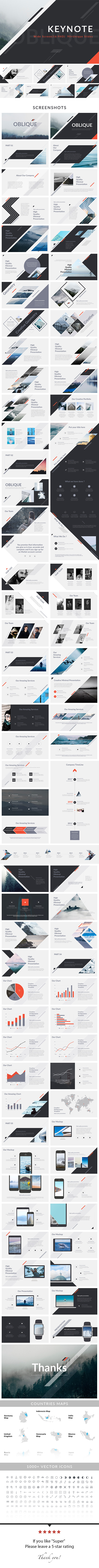 Oblique - Keynote Presentation Template - Abstract Keynote Templates