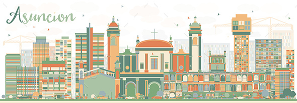 Abstract Asuncion Skyline with Color Buildings - Buildings Objects