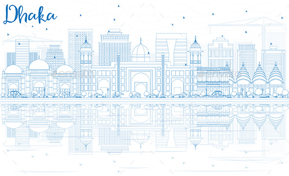 Outline Dhaka Skyline with Blue Buildings and Reflections - Buildings Objects