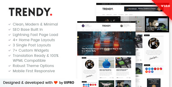 Trendy Pro – Premium Personal Blog WordPress Theme