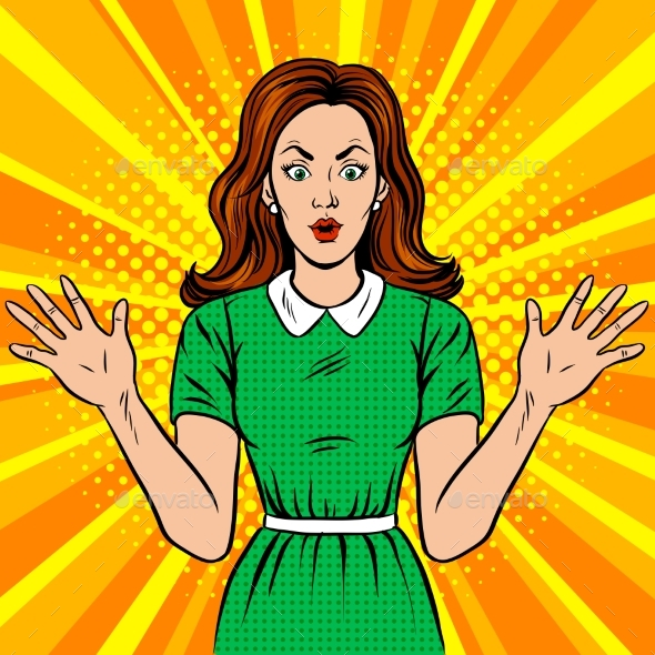 Surprised Woman Pop Art Style Vector Illustration - People Characters