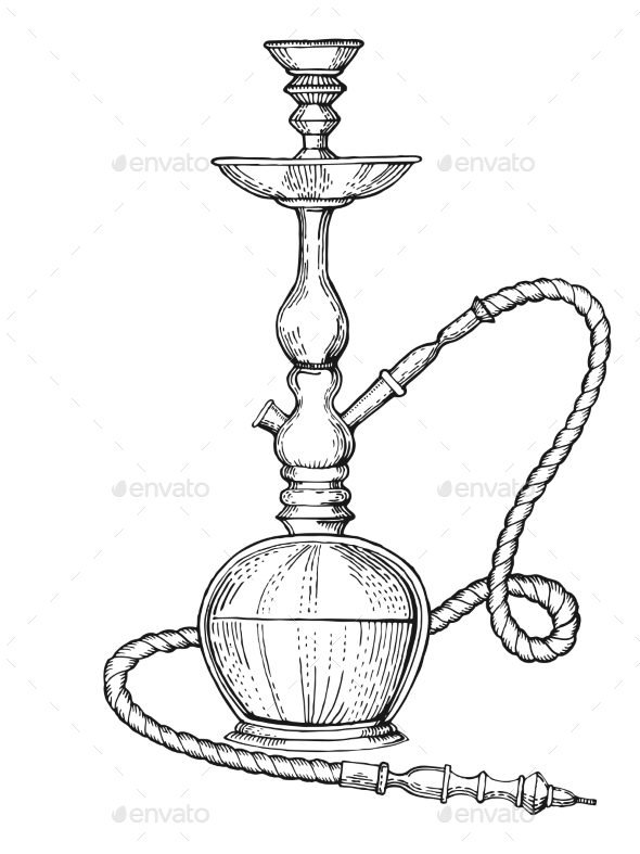 Hookah Engraving Style Vector Illustration - Miscellaneous Vectors