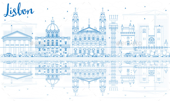 Outline Lisbon Skyline with Blue Buildings and Reflections - Buildings Objects