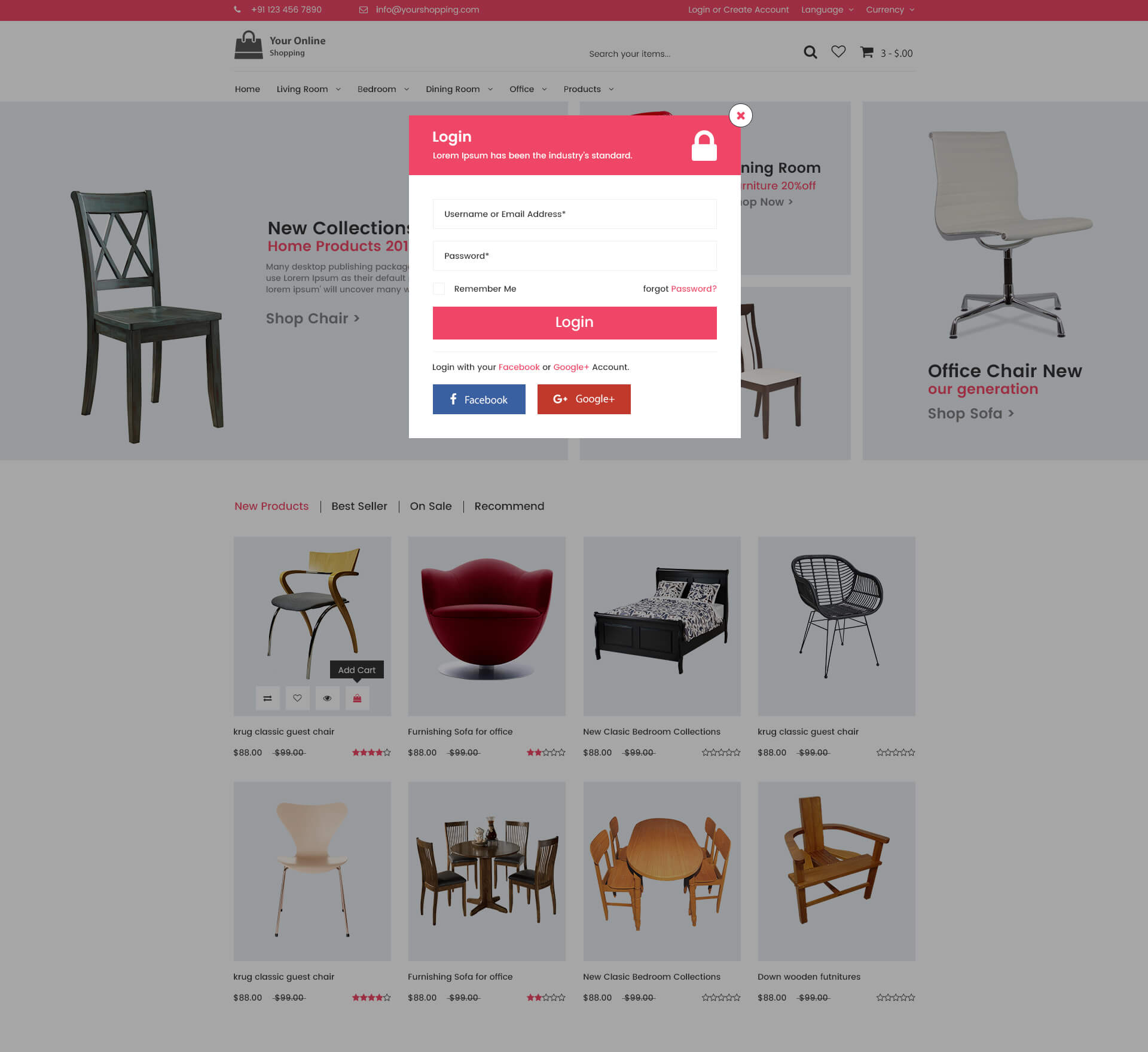 Online shopping home page