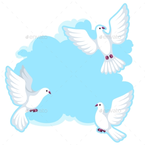 Background with White Doves - Animals Characters