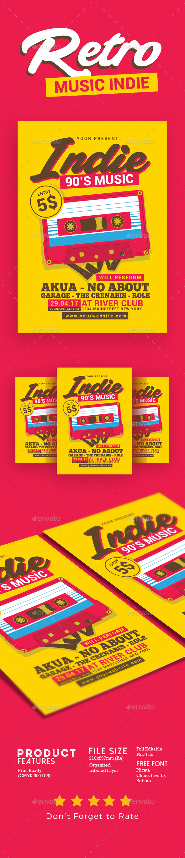Retro Music Indie - Events Flyers