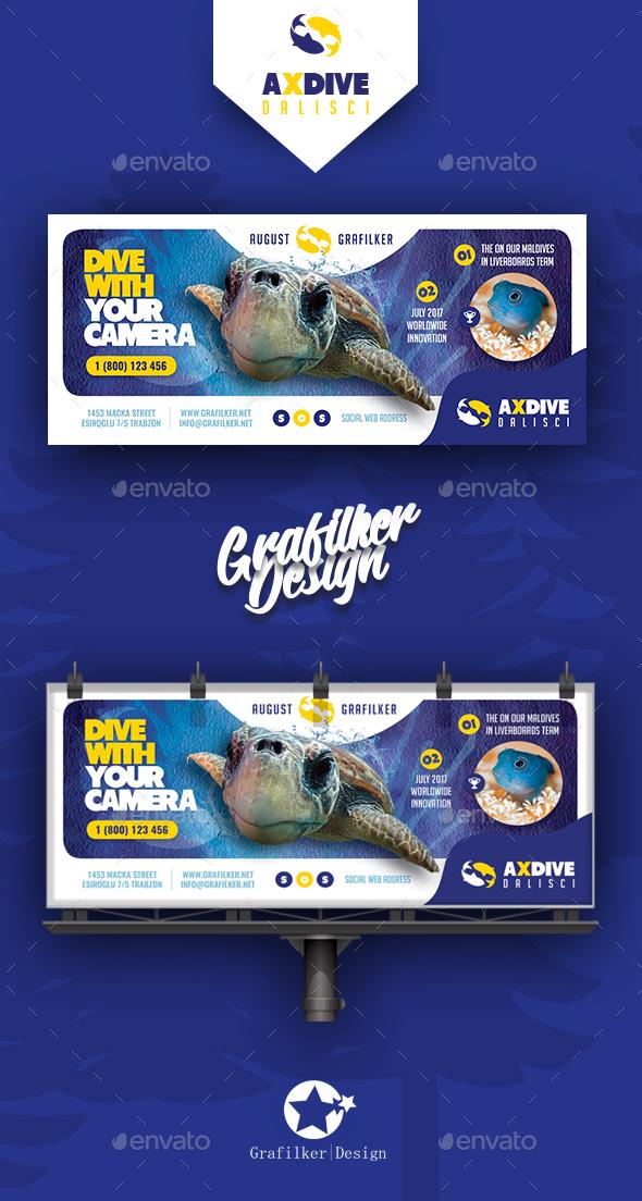 Ocean Diving Billboard Templates - Signage Print Templates