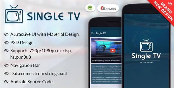Single TV With Material Design - CodeCanyon Item for Sale