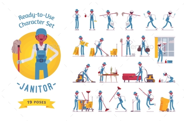 Ready-to-Use Male Janitor Character Set - People Characters