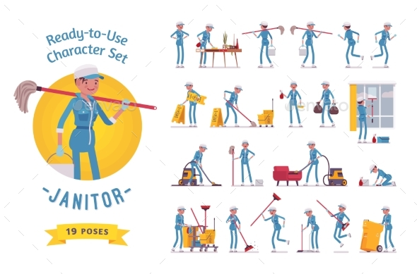 Ready-to-Use Female Janitor Character Set - People Characters