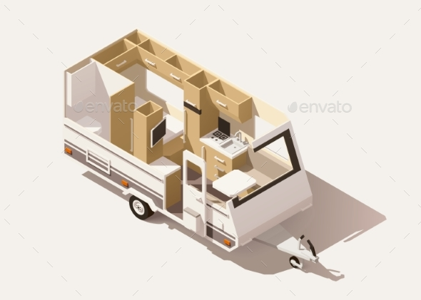 Vector Isometric Low Poly Camper Trailer - Man-made Objects Objects
