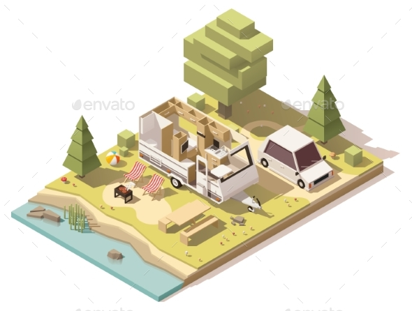 Isometric Low Poly Camper in Campsite - Travel Conceptual