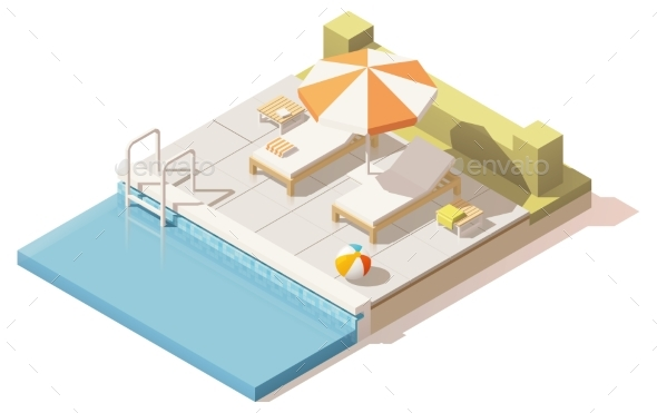 Isometric Low Poly Swimming Pool - Man-made Objects Objects