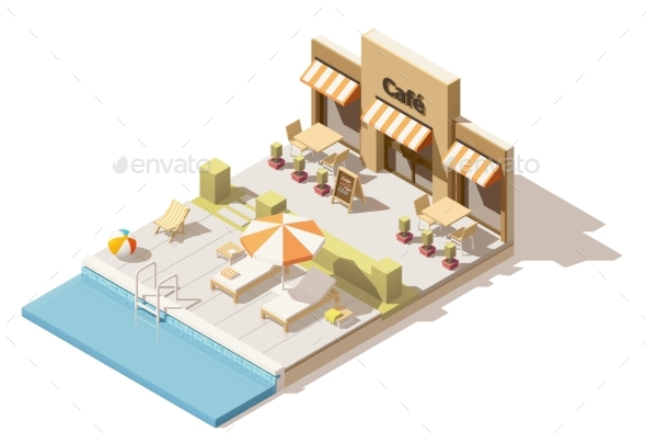 Vector Isometric Low Poly Swimming Pool and Cafe - Miscellaneous Vectors