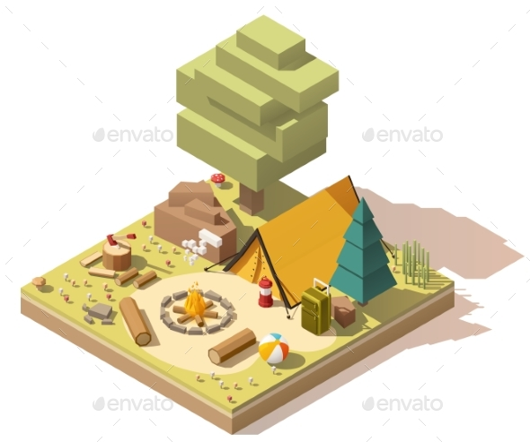 Vector Isometric Low Poly Campsite - Seasons/Holidays Conceptual
