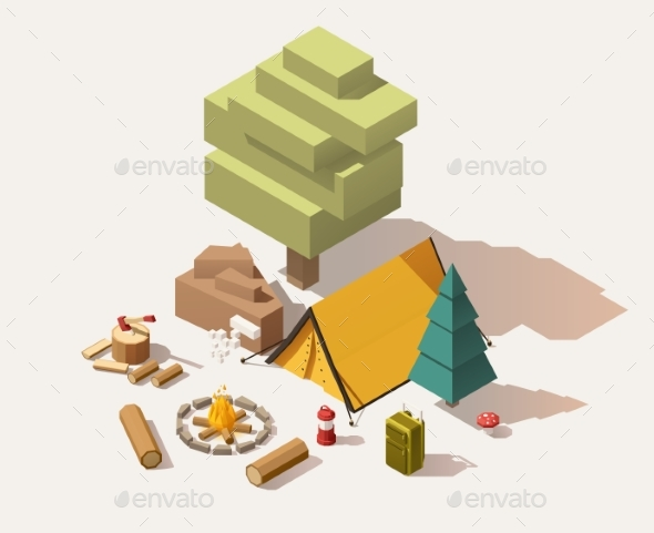 Vector Isometric Low Poly Campsite - Objects Vectors