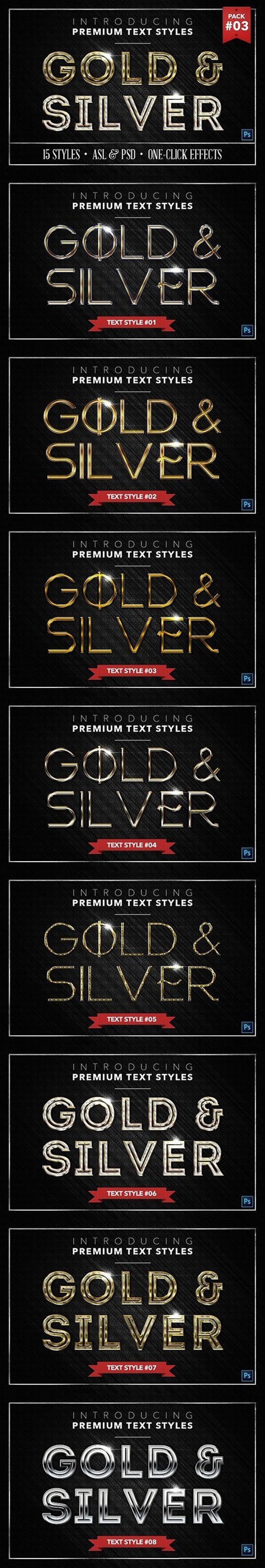 Gold & Silver - Text Styles - Text Effects Actions