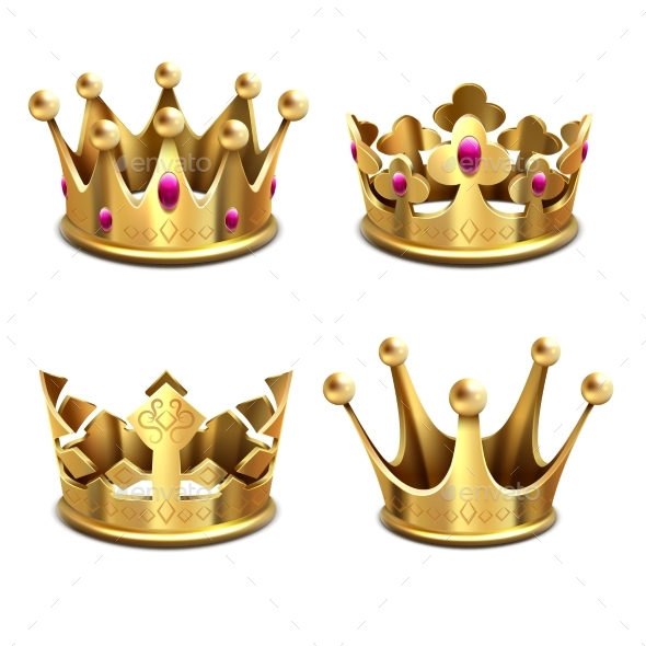 Gold 3d Crown Vector Set - Man-made Objects Objects