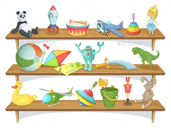 Illustration of Childrens Toy Shelf - Man-made Objects Objects