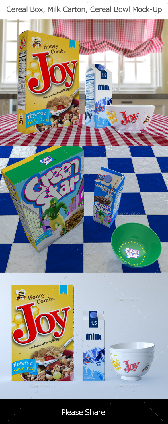 Cereal Box and Cereal Bowls and Carton of Milk Mock-Up - Food and Drink Packaging
