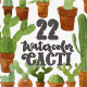 22 Watercolor Cacti - GraphicRiver Item for Sale