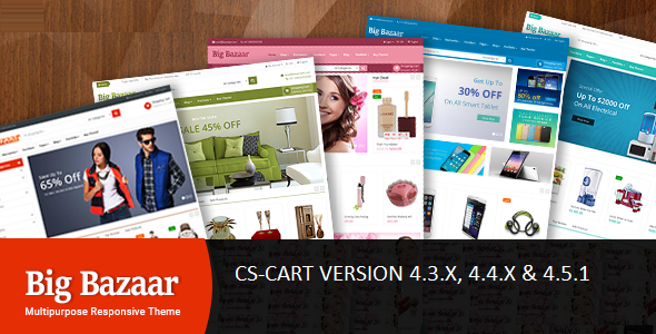 Download BigBazaar - Multipurpose Responsive CS-Cart Theme nulled version