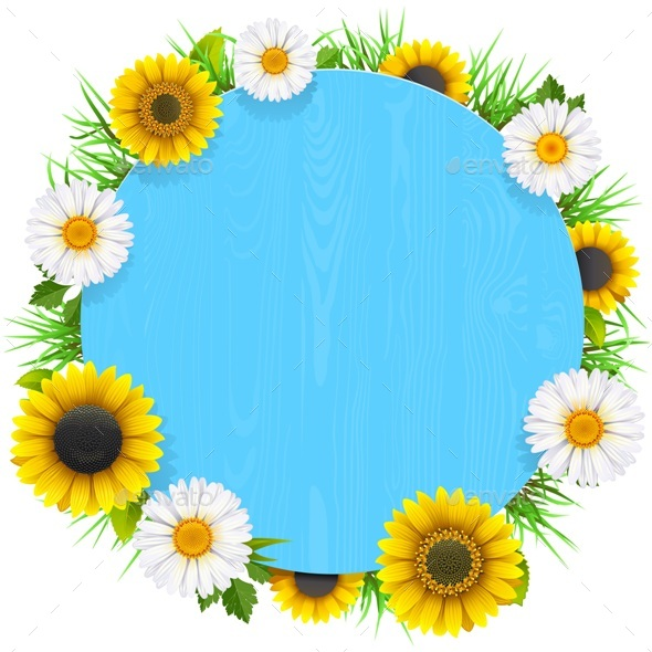 Vector Blue Round Wooden Frame with Flowers - Flowers & Plants Nature