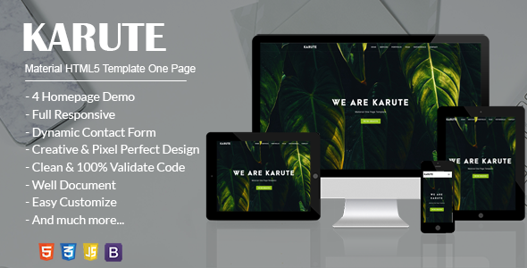 KARUTE – Material HTML5 Template One Page