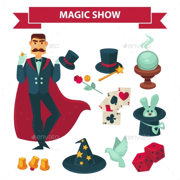 Circus Magician Man with Magic Show Vector - People Characters