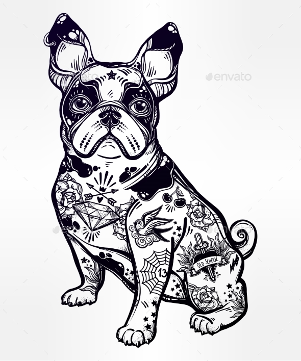 Vintage Bulldog or Pug Decorated in Flash Tattoos - Animals Characters