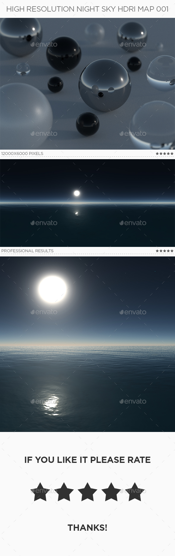 High Resolution Night Sky HDRi Map 001 - 3DOcean Item for Sale
