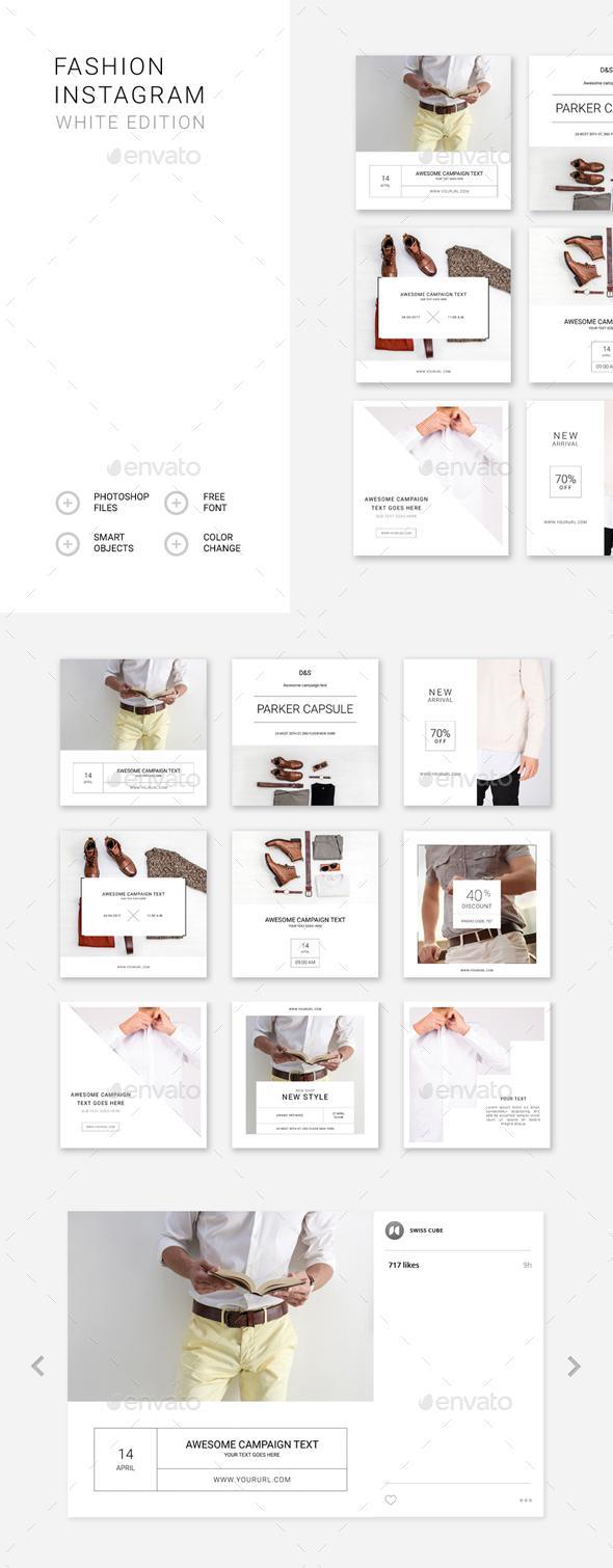 Fashion Instagram – White Edition - Social Media Web Elements