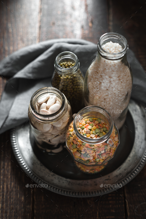 White beans, green beans, lentils and rice banks - Stock Photo - Images