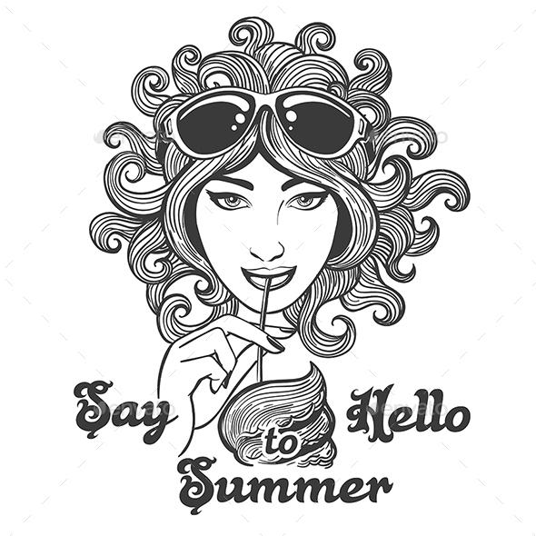 Hand Drawn Summer Illustration in Hippie Style - Tattoos Vectors