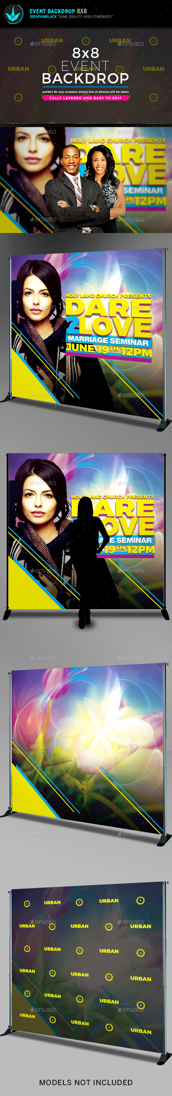 Dare 2 Love 8x8 Backdrop Template - Signage Print Templates