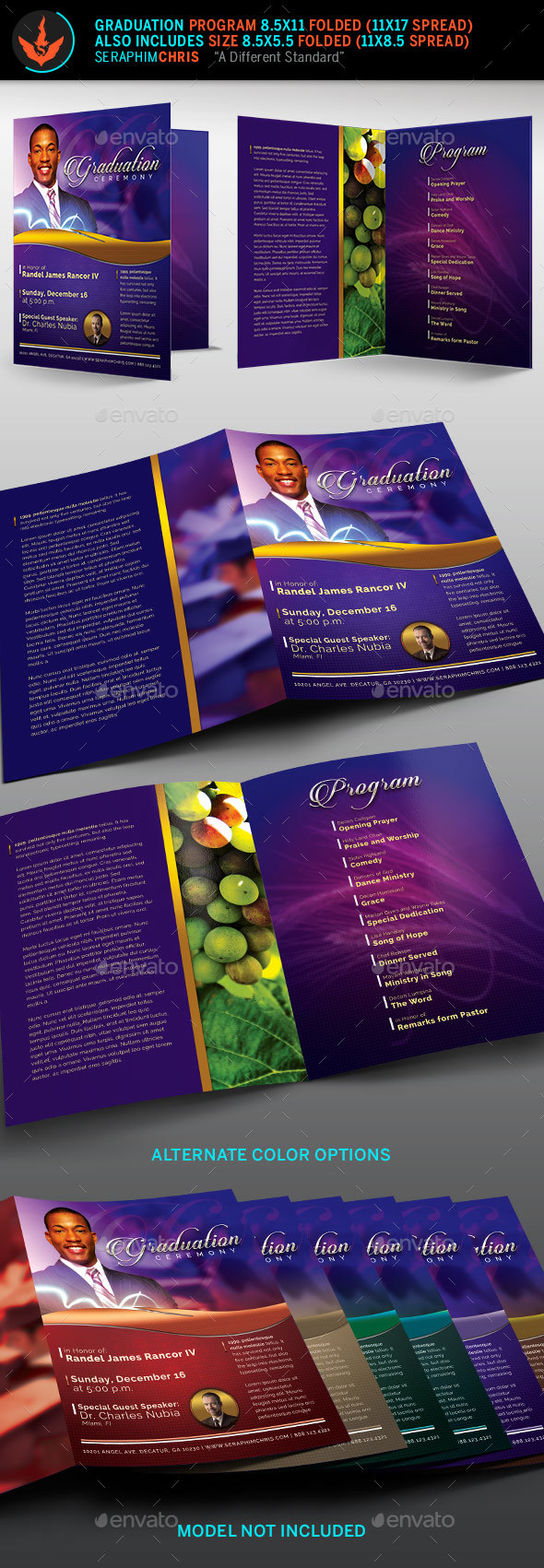 Pastor's Graduation Ceremony Program Template - Informational Brochures
