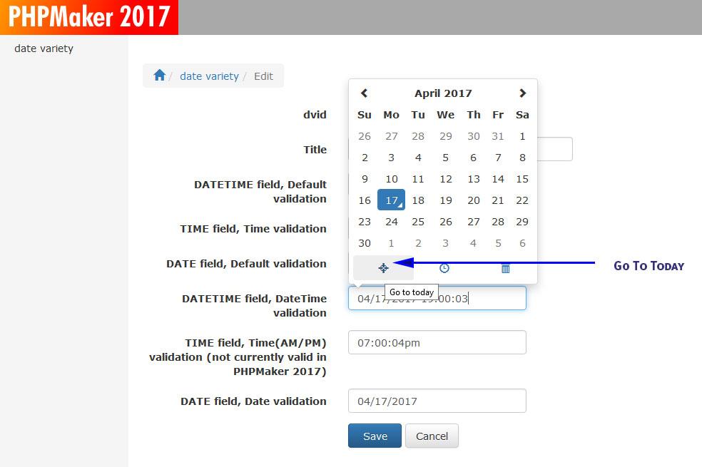 EPI Date Time Picker for PHPMaker 2017