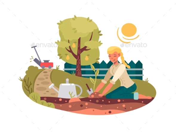 Young Girl Planting Seedling - People Characters