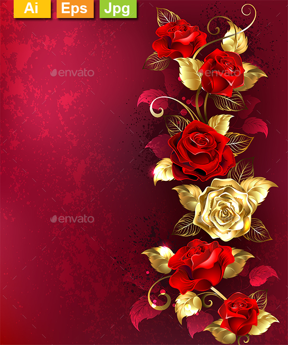 Composition with Red Jewelry Roses - Flourishes / Swirls Decorative