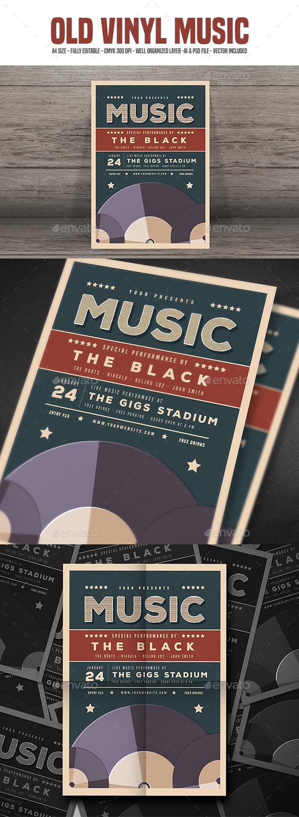 Old vinyl Music Flyer - Concerts Events