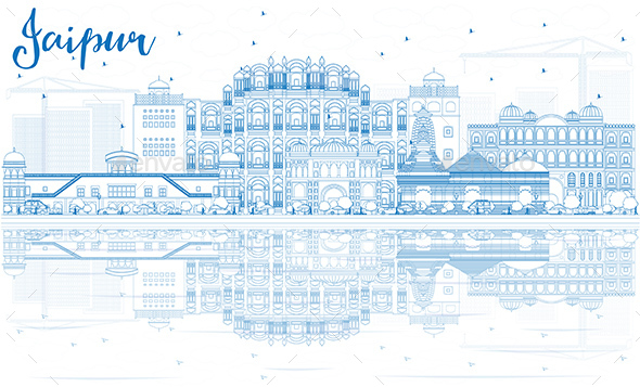 Outline Jaipur Skyline with Blue Landmarks and Reflections - Buildings Objects