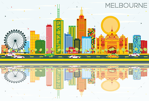 Melbourne Skyline with Color Buildings, Blue Sky and Reflections - Buildings Objects