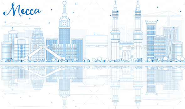 Outline Mecca Skyline with Blue Landmarks and Reflections - Buildings Objects