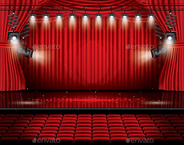 Red Stage Curtain with Spotlights and Seats - Miscellaneous Seasons/Holidays